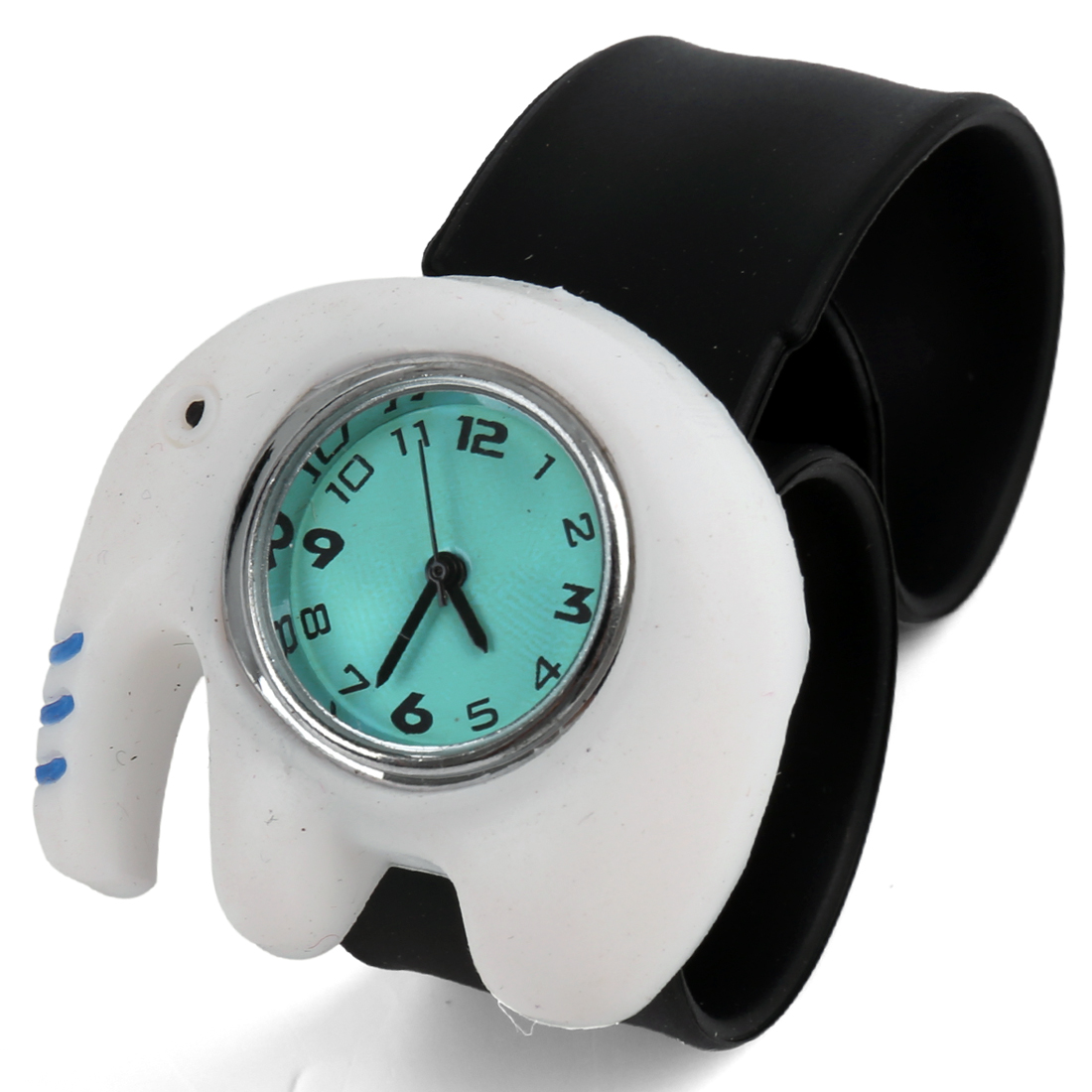 Animated Elephant Children Slap Strap Wrist Watch White Black