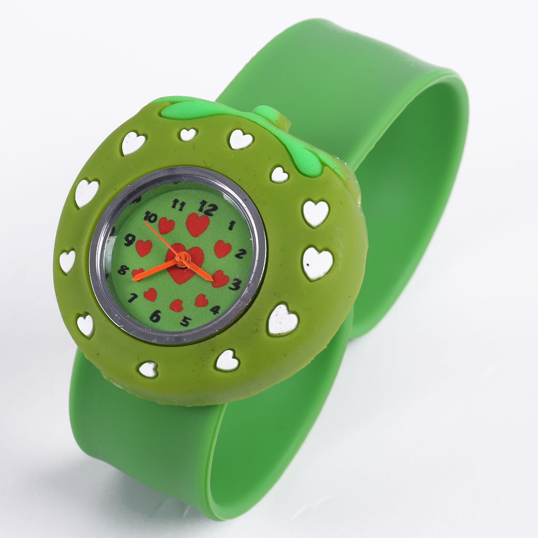 3D Lovely Strawberry Dial Analog Strap Leisure Wrist Watch Green