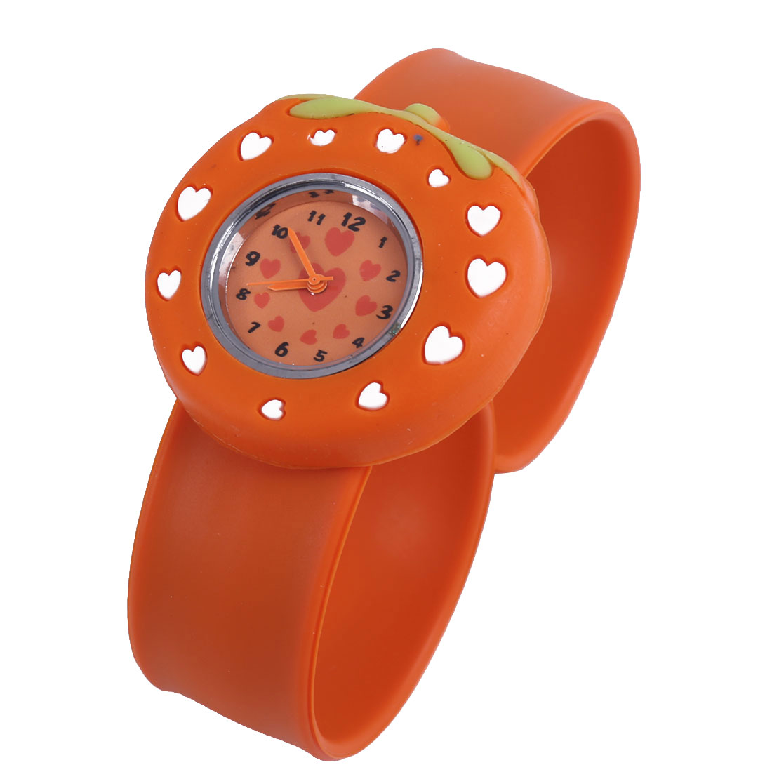 Fashion NEWS Slap Cuff Strawberry Watch for Kids Orange