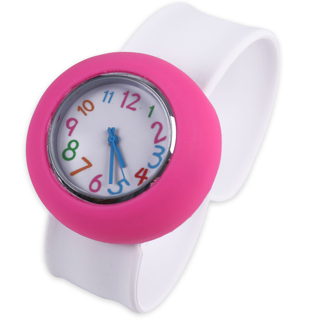 Boys Girls Slap Cuff Analog Round Wrist Watch White Fuchsia