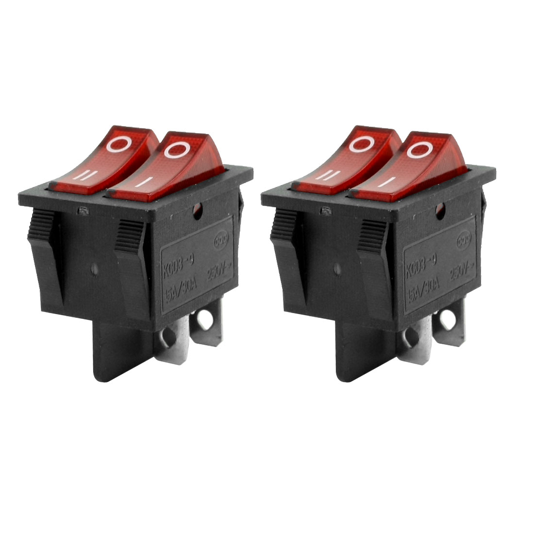 Pair Red Button Dual SPST On-Off Snap in Mount Rocker Switch 15A/30A 250VAC