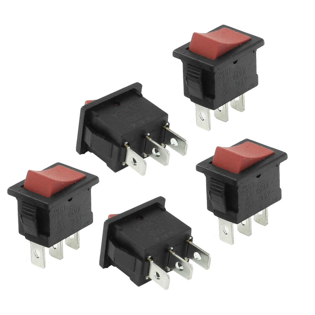 6A 250VAC 10A 125VAC 3 Pin SPDT Red Button ON/OFF Boat Rocker Switch 5 Pcs