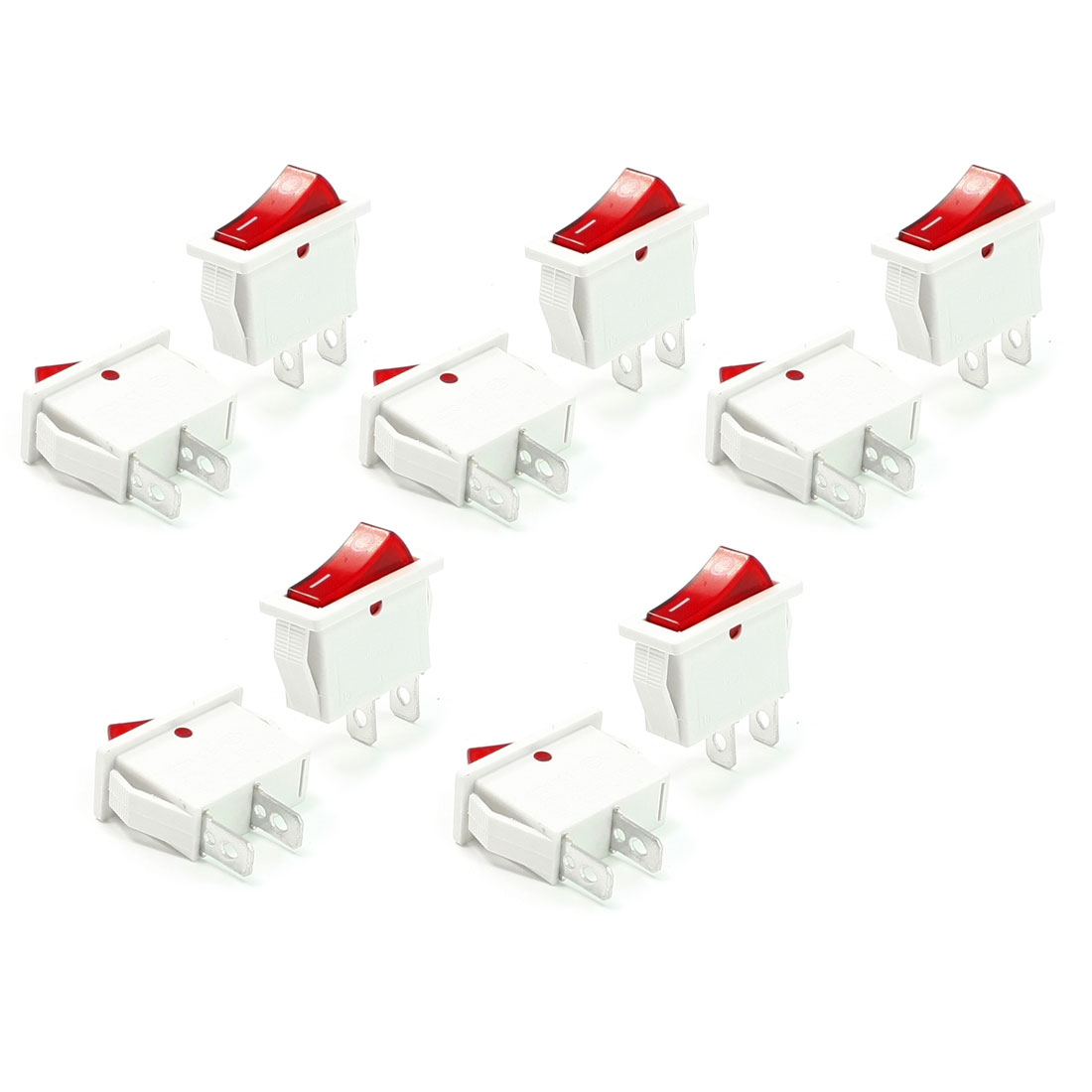16A 250VAC 20A 125VAC Red Light I/O 2 Position SPST Rocker Switch 10 Pcs