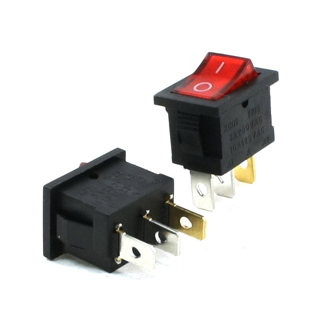 2 Pcs 3 Pin Red Lamp I/O SPST Panel Mount Rocker Switch 6A/250VAC 10A/125VAC