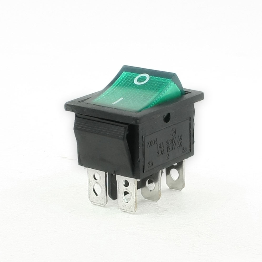 16A/250VAC 20A/125AC ON-OFF Panel Mounting Green Light Lamp Boat Rocker Switch
