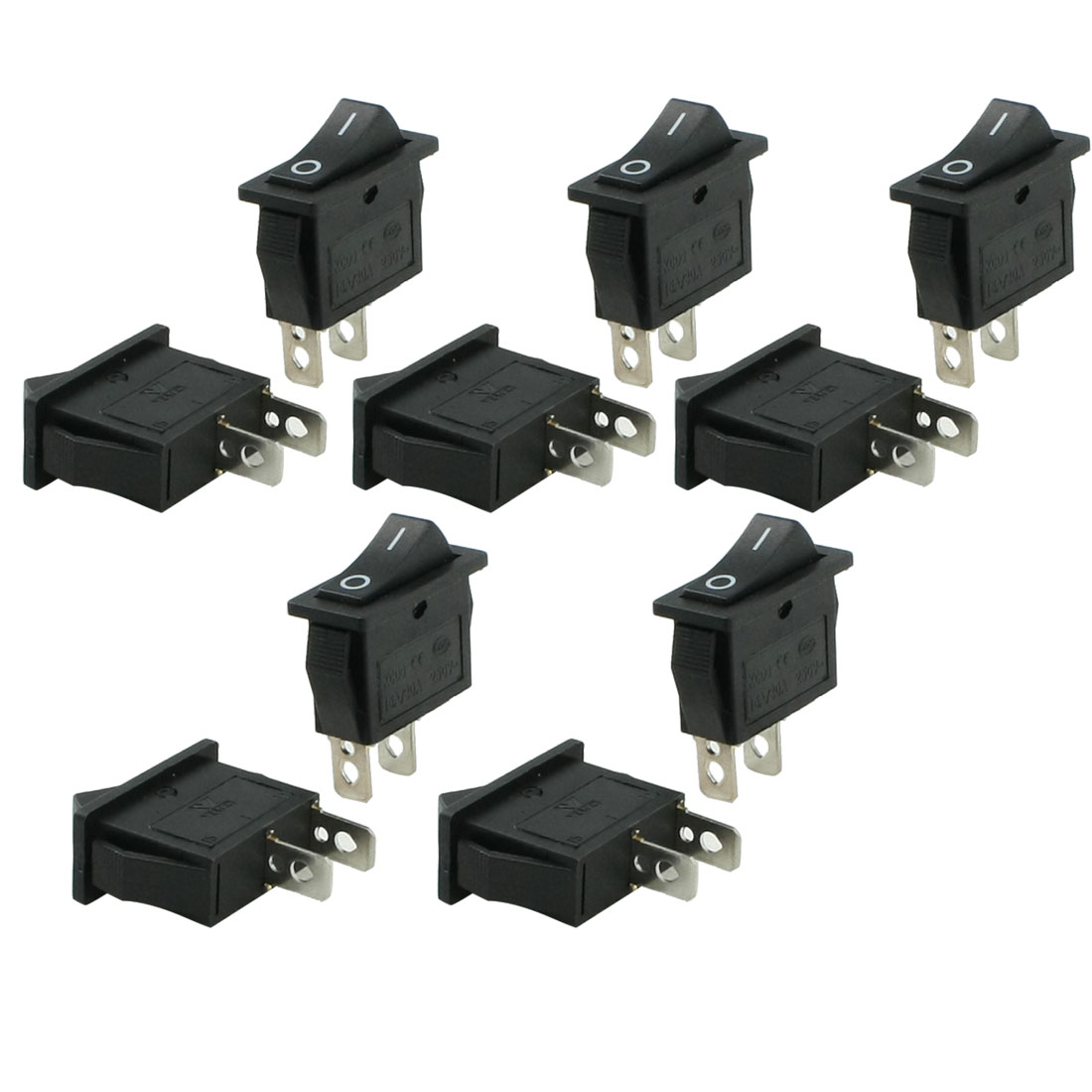 15A/30A 250V AC I/O 2 Position SPST Boat Rocker Switch 10 Pcs