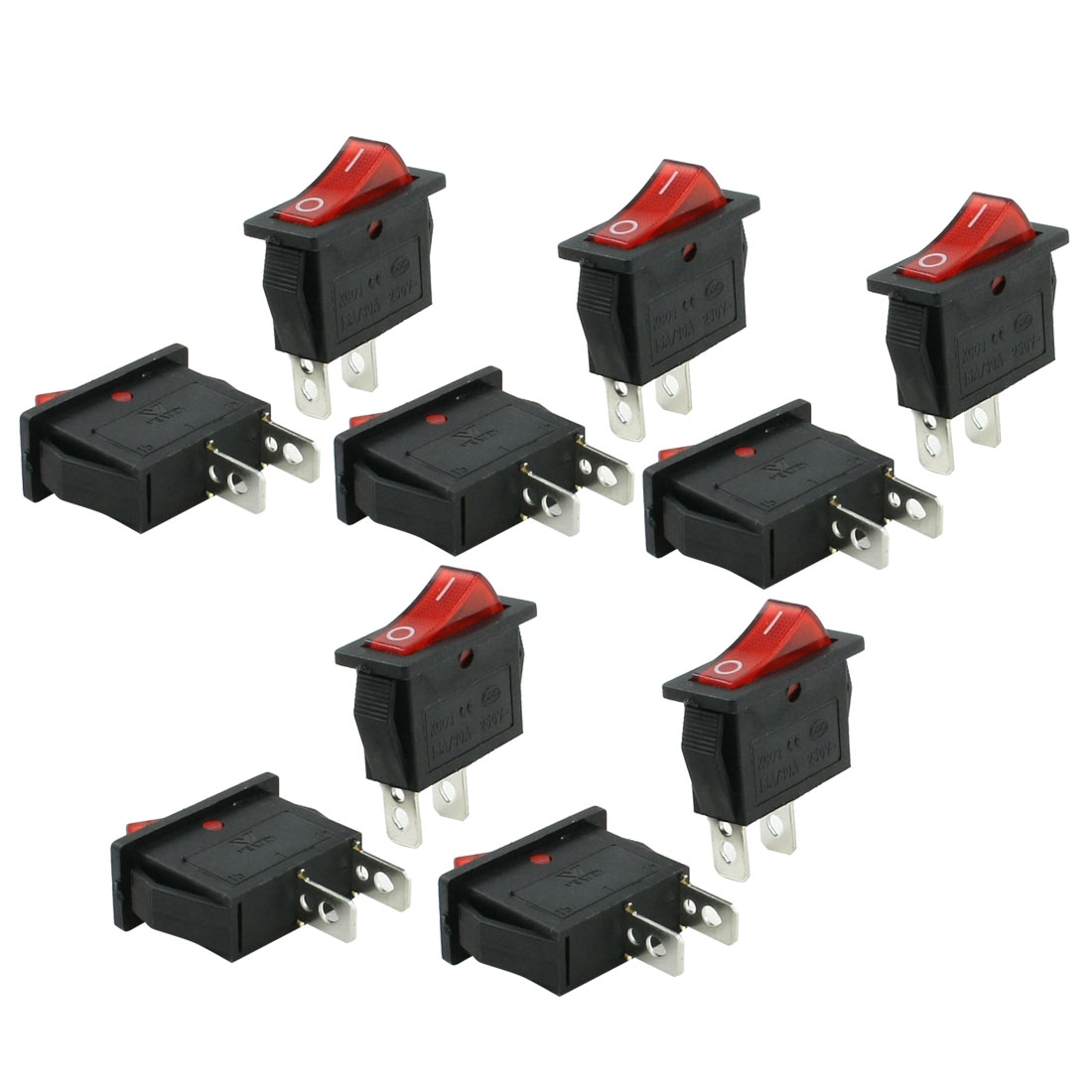 10 Pcs Panel Mount Red Light Lamp SPST Rocker Switch 16A/30A 250VAC