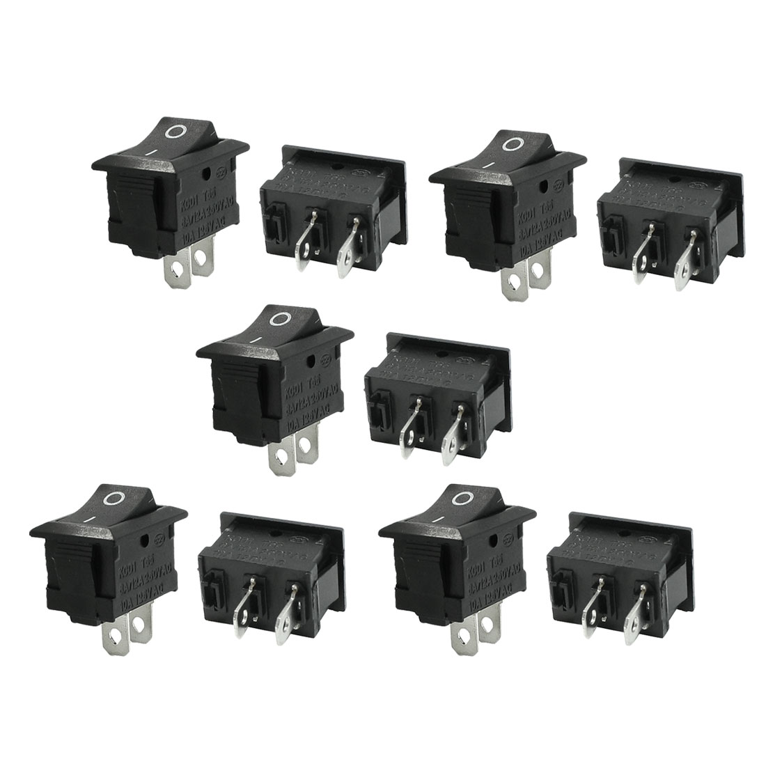 6A/12A 250VAC 10A 125VAC SPST Plastic Shell I/O Boat Rocker Switch 10 Pcs