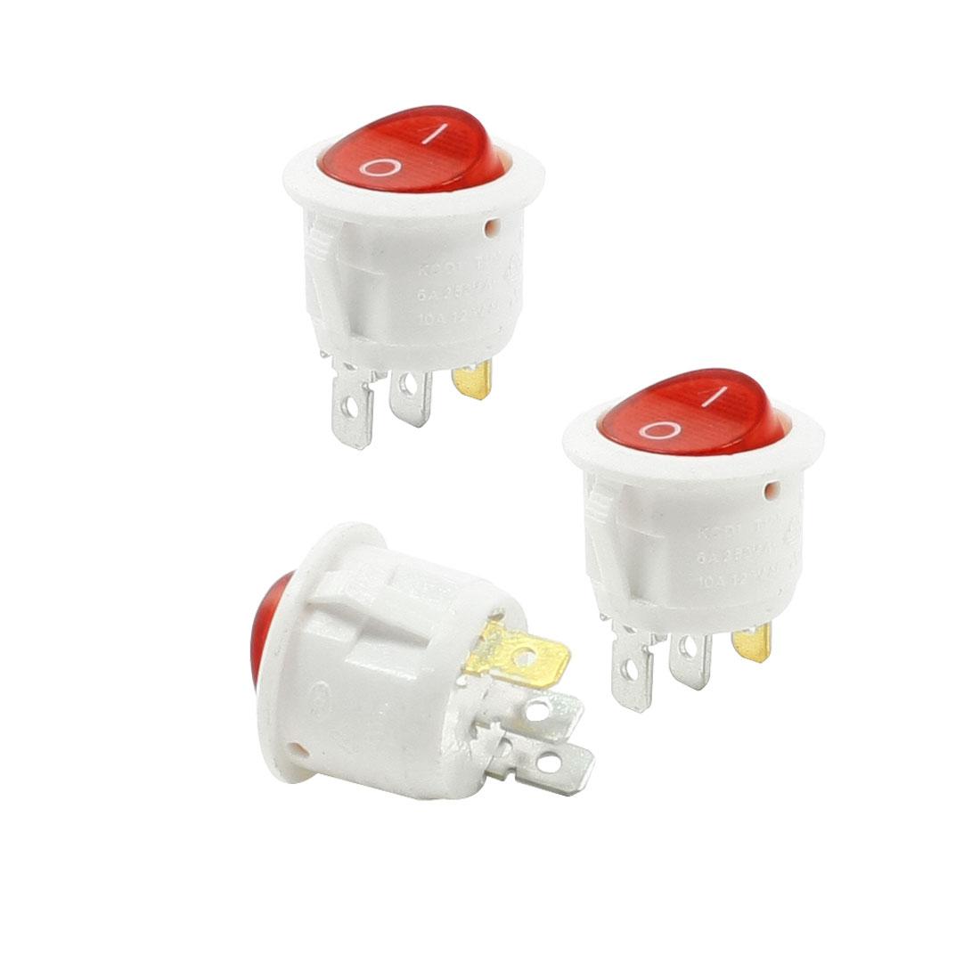 6A 250VAC 10A 125VAC 3P SPST I/O Panel Mounted Red Indicator Rocker Switch 3 Pcs