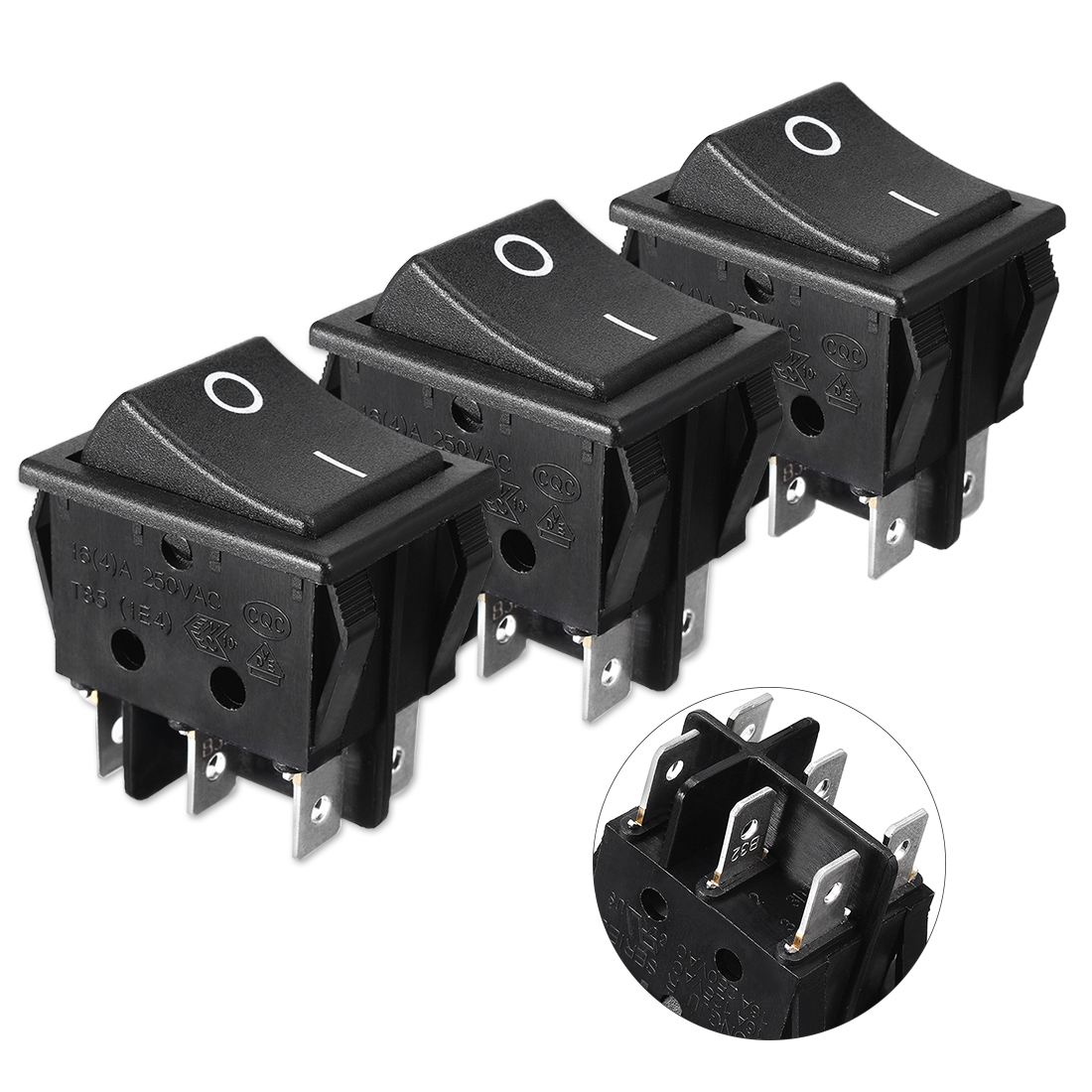 3 Pcs I/O ON/OFF DPDT 6-Terminals Boat Rocker Switch 16A 250VAC 20A 125VAC