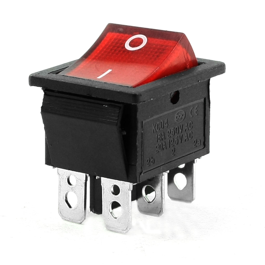 18A 250VAC 20A 125VAC 2 Position 6 Pin Red Light ON/OFF DPDT Boat Rocker Switch