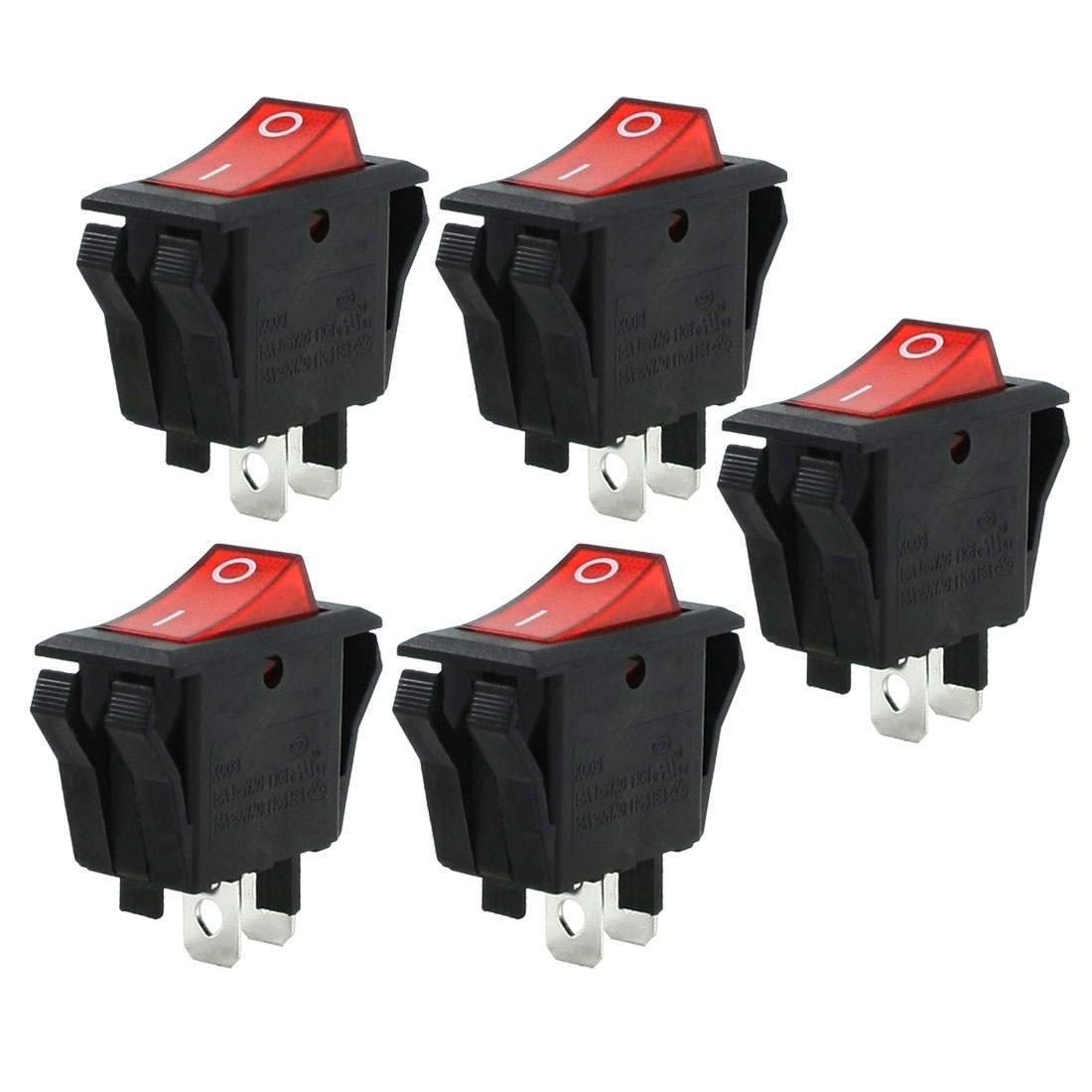 5 Pcs 2P Red Indicator Light SPST 2 Position I/O Rocker Switch 16A 250V/125VAC