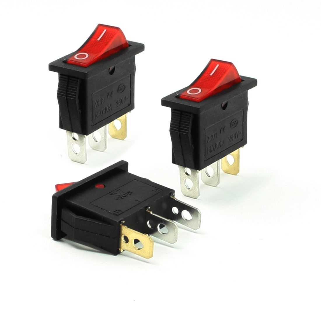 3 Pcs Panel Mounted Red Lamp 3 Pin 2 Position SPST Rocker Switch 15A/30A 250VAC