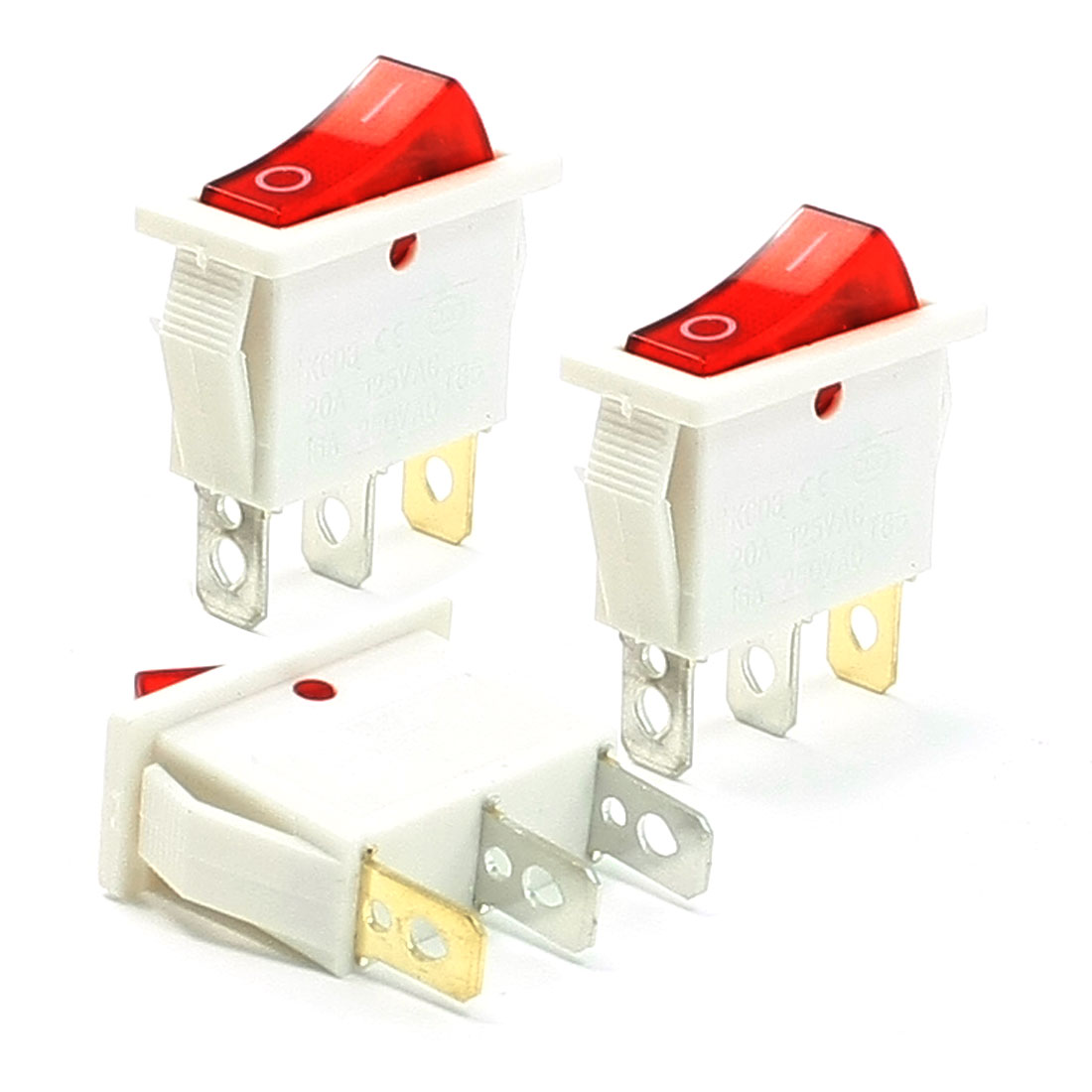 16A 250VAC 20A 125VAC Red Indicator Light I/O 3 Pin SPST Rocker Switch 3 Pcs