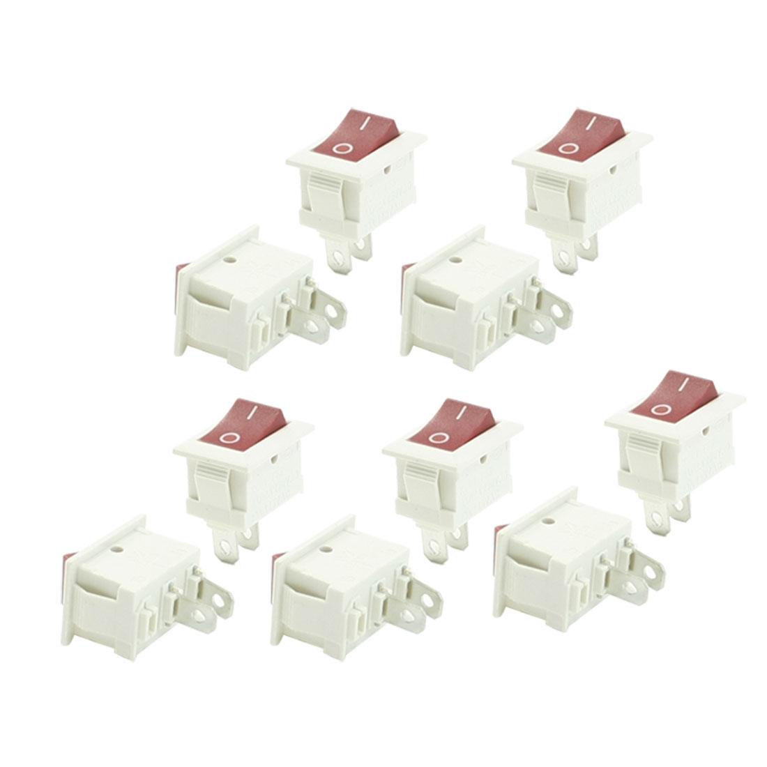 6A/12A 250VAC 10A 125VAC 2P SPST Red Light 2 Position I/O Rocker Switch 10 Pcs