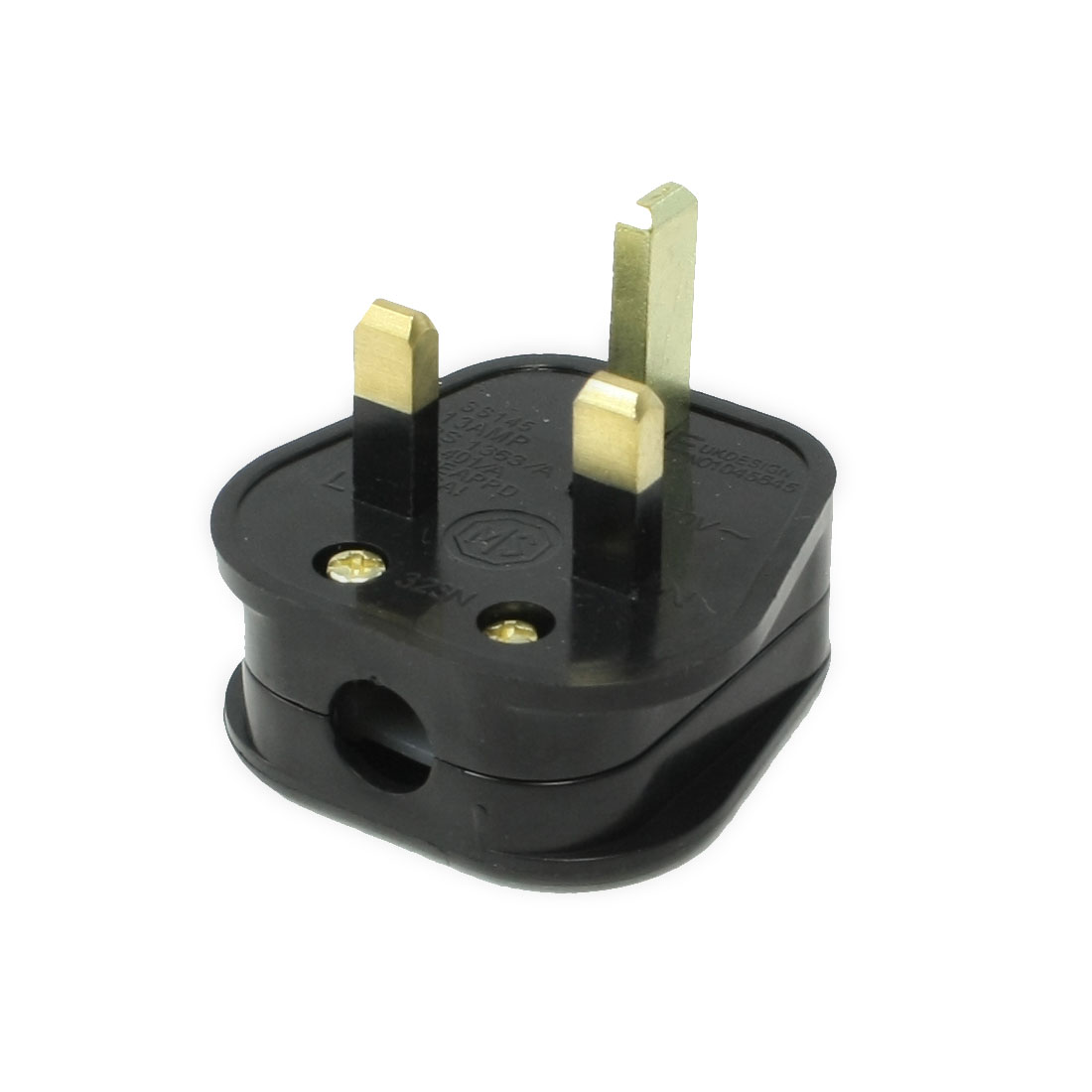 AC 250V 13A 3 Pin UK Type Rewirable Power Plug Black Trapezoid Connector Head