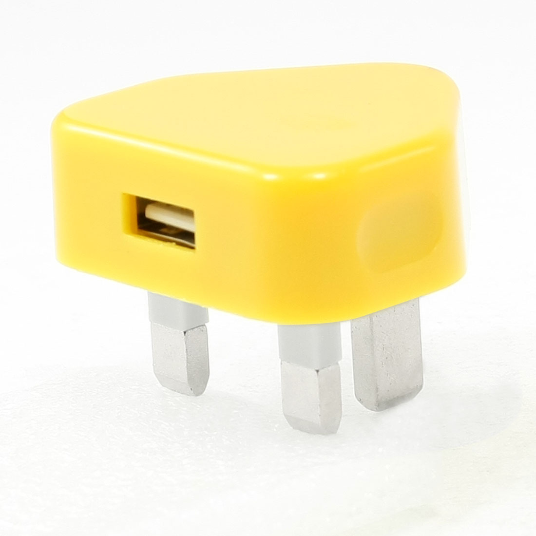 UK Plug 100-240V AC to USB 2.0 Port Charger Adapter Yellow for Smartphone