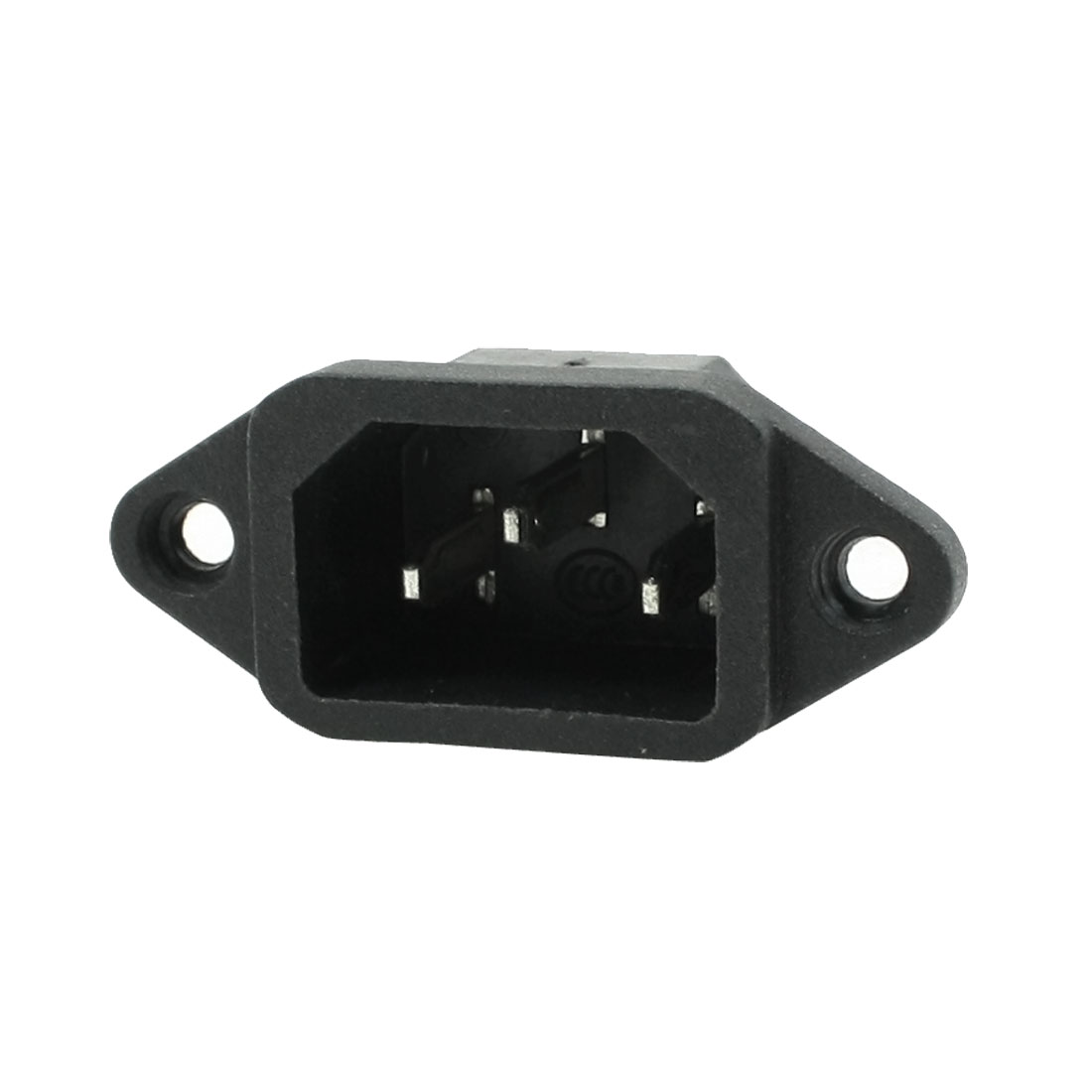 10A 250VAC Panel Mounting Male C14 Power Adapter Connector Black