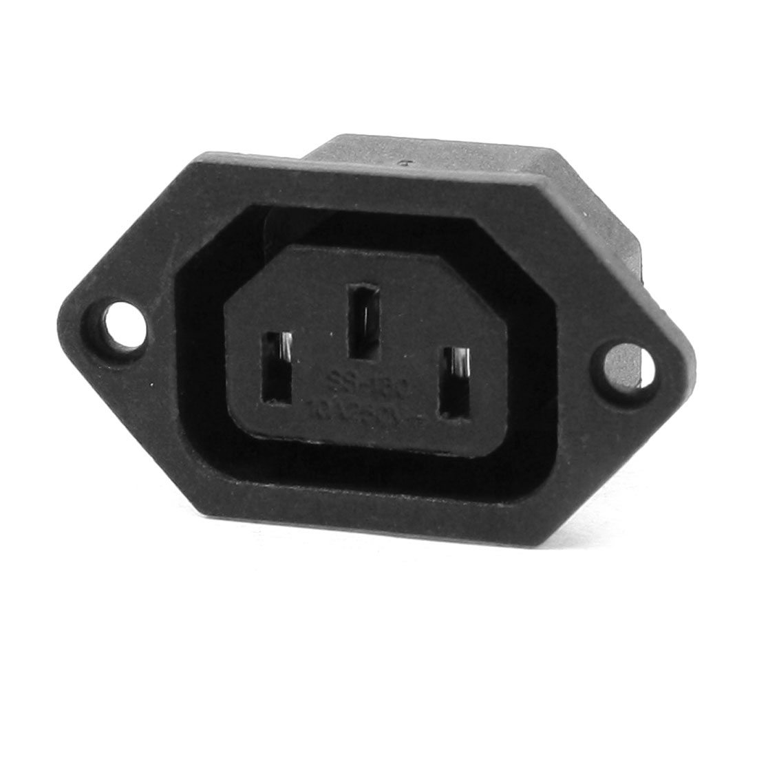 AC 250V 10A 3-Terminals Female Panel Mount Connecting Black C13