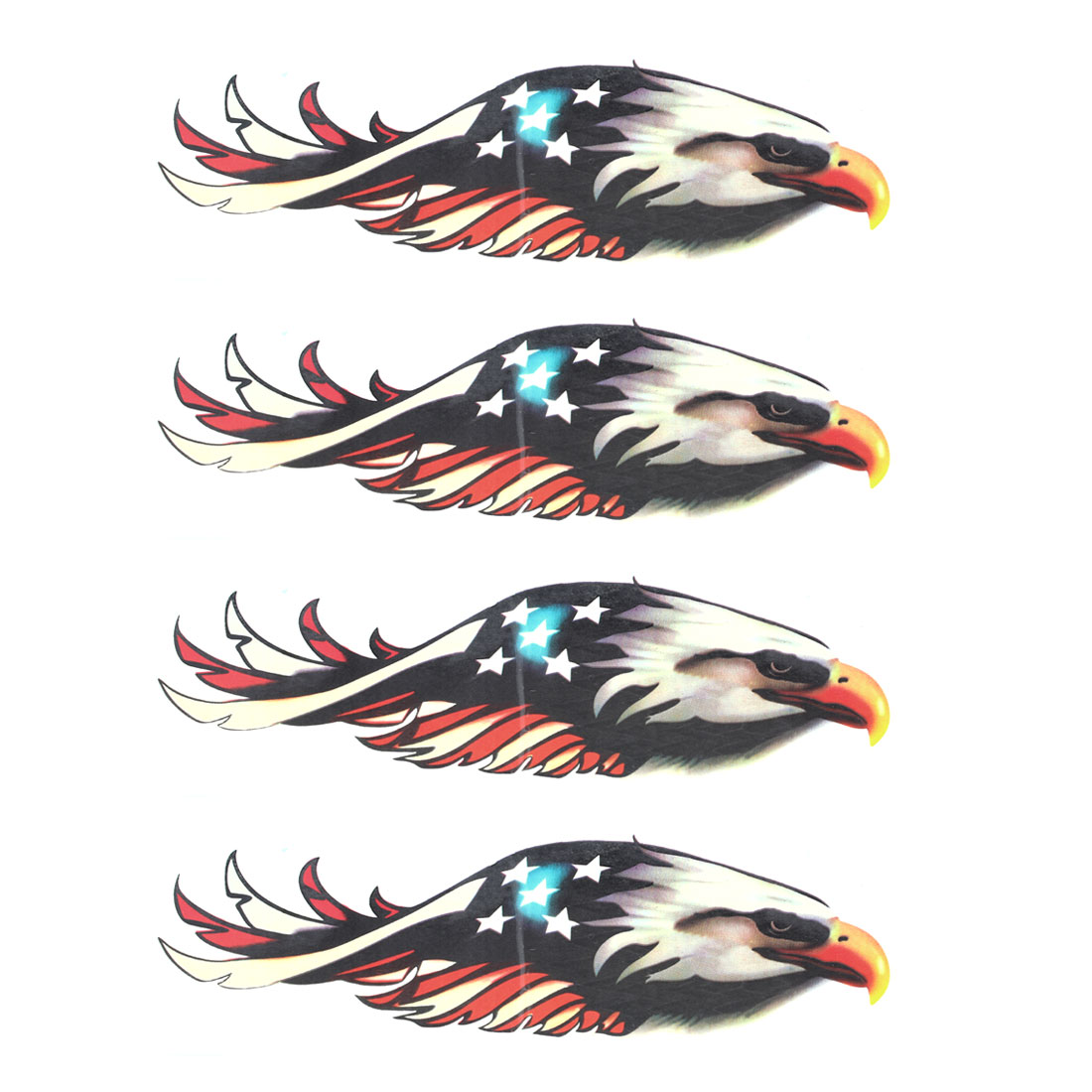 4 Pcs Colorful Eagle Pattern Safety Sign Sticker for Car