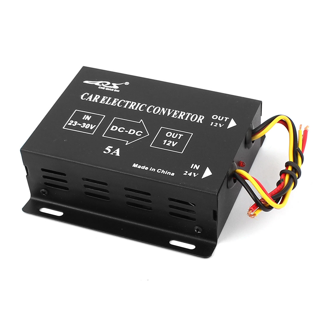 Black Plastic 5A DC 24V to 12V Voltage Reducer Converter for Car