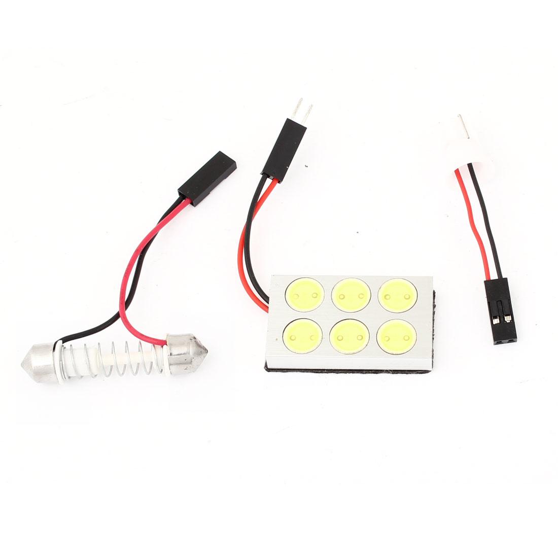 High Power White 6 LED Bulb Dome Light + T10 Festoon Adapter for Car