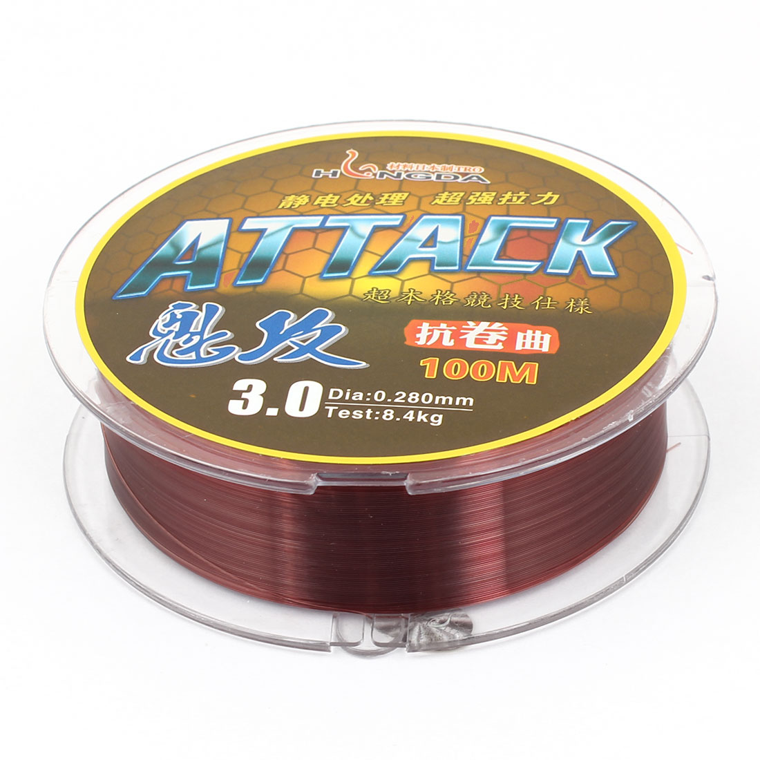 0.280mm Diameter 100M Thread 8.4Kg 18.5 lb Fishing Line Spool Brown