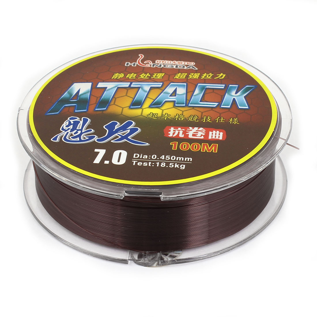 Brown Nylon Thread 0.450mm Diameter 18.5Kg Fishing Line Spool 100M
