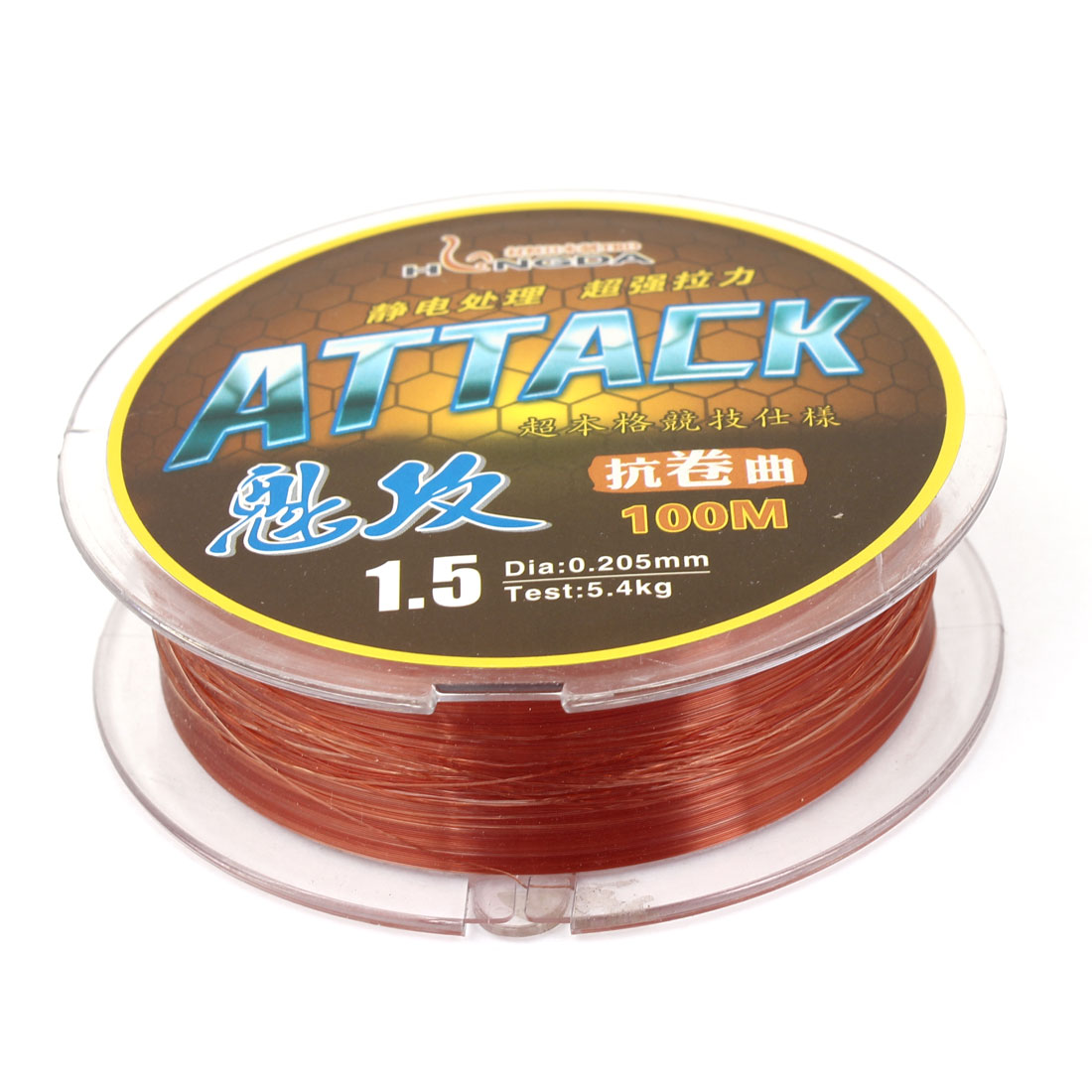 Brown Nylon Thread 0.205mm Diameter 5.4Kg Fishing Line Spool 100M