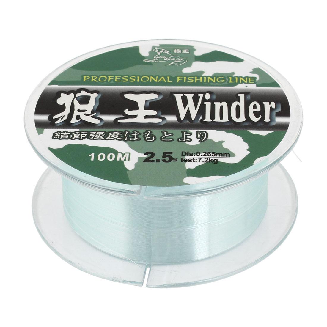 2.5# Green Nylon Thread 0.265mm Dia 7.2Kg Fishing Line Spool 100M