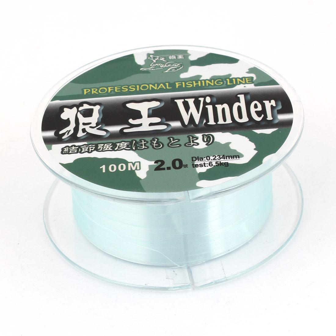 2.0# Green Nylon Thread 0.234mm Dia 6.5Kg Fishing Line Spool 100M