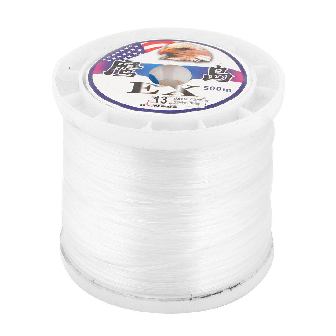 0.75mm Diameter 500M Thread 38Kg 83.8 lb Fishing Line Spool White