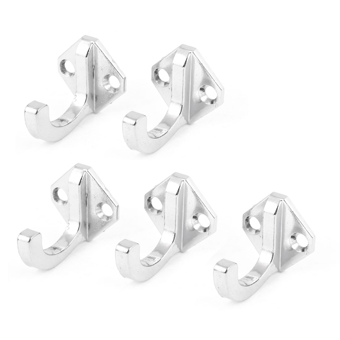 5Pcs Silver Tone Alloy Screw Mounting Scarf Towel Single Hanger Wall Hook