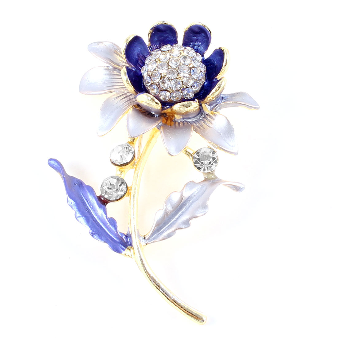 Ladies Rhinestone Detailing Flower Shape Gold Tone Metal Brooch Indigo Blue