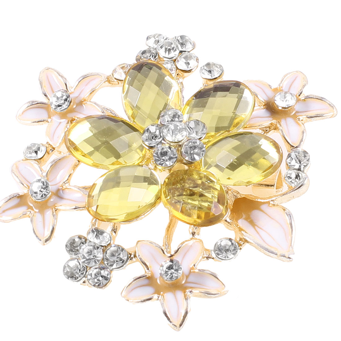 Ladies Rhinestone Detailing Flower Shaped Clothing Brooch Yellow Silver Tone