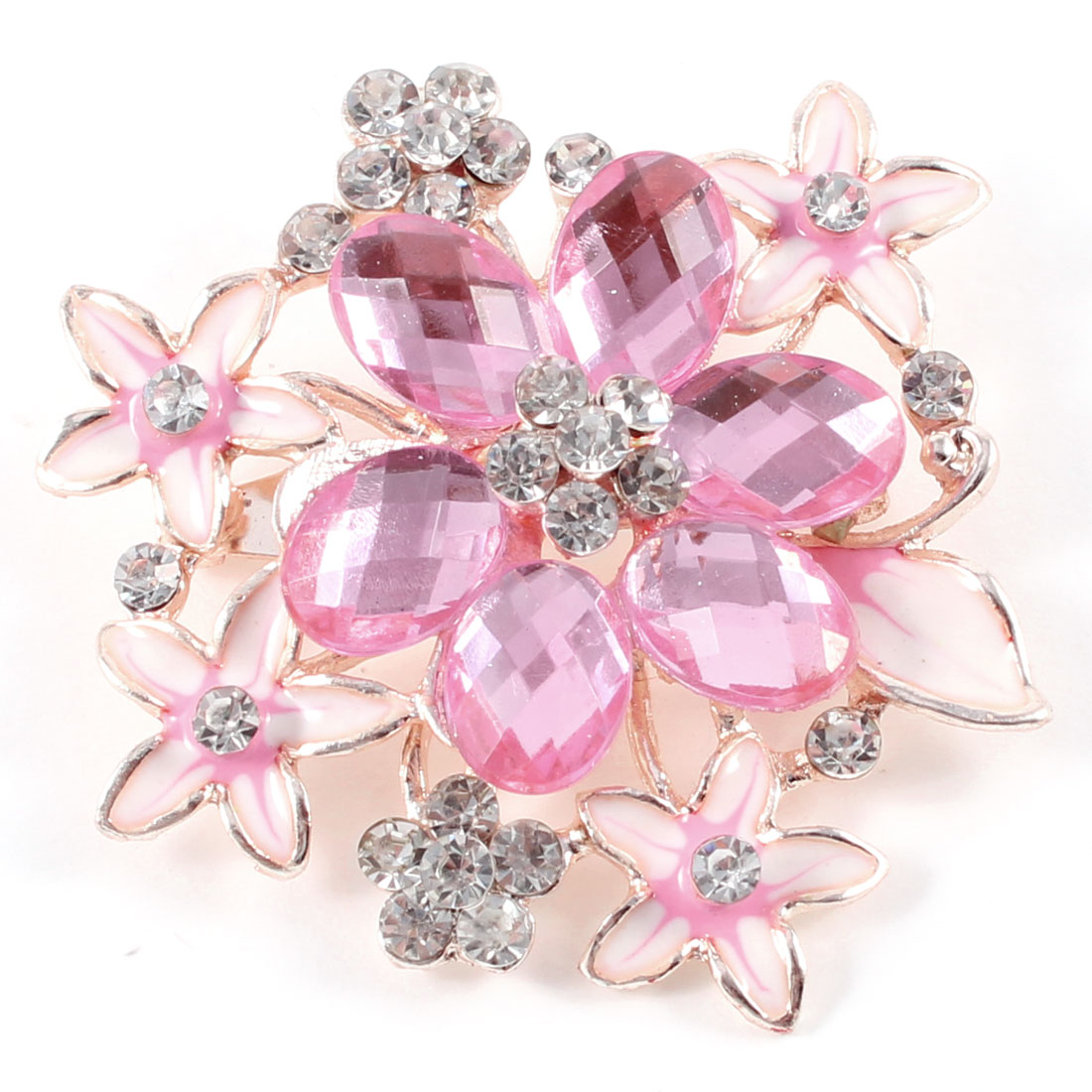 Lady Plastic Crystal Decor Flower Style Brooch Breast Pin Pink Silver Tone