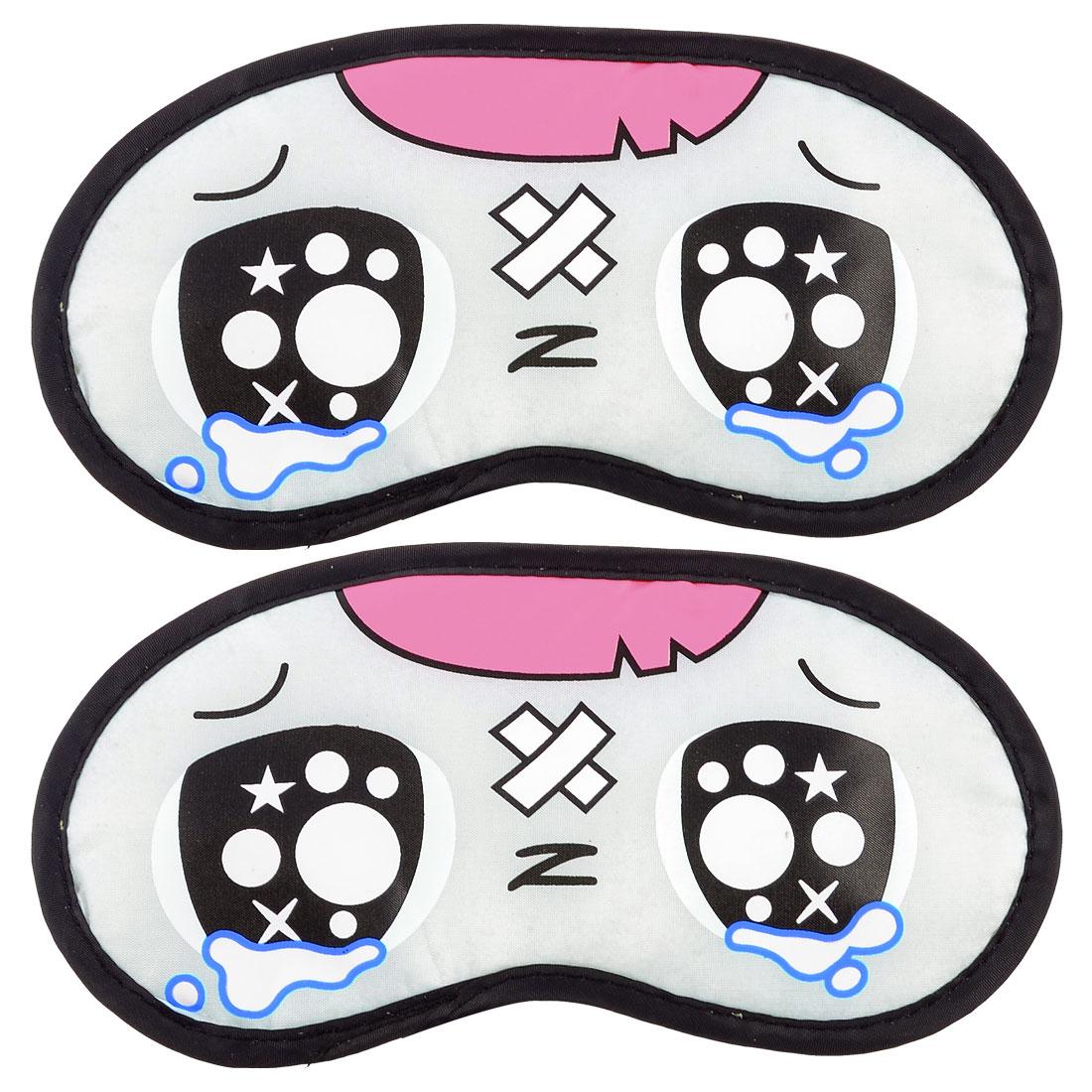 Traveling Practical Stretchy Strap Cartoon Tearful Style Eye Black Pink Eyeshade 2 Pcs