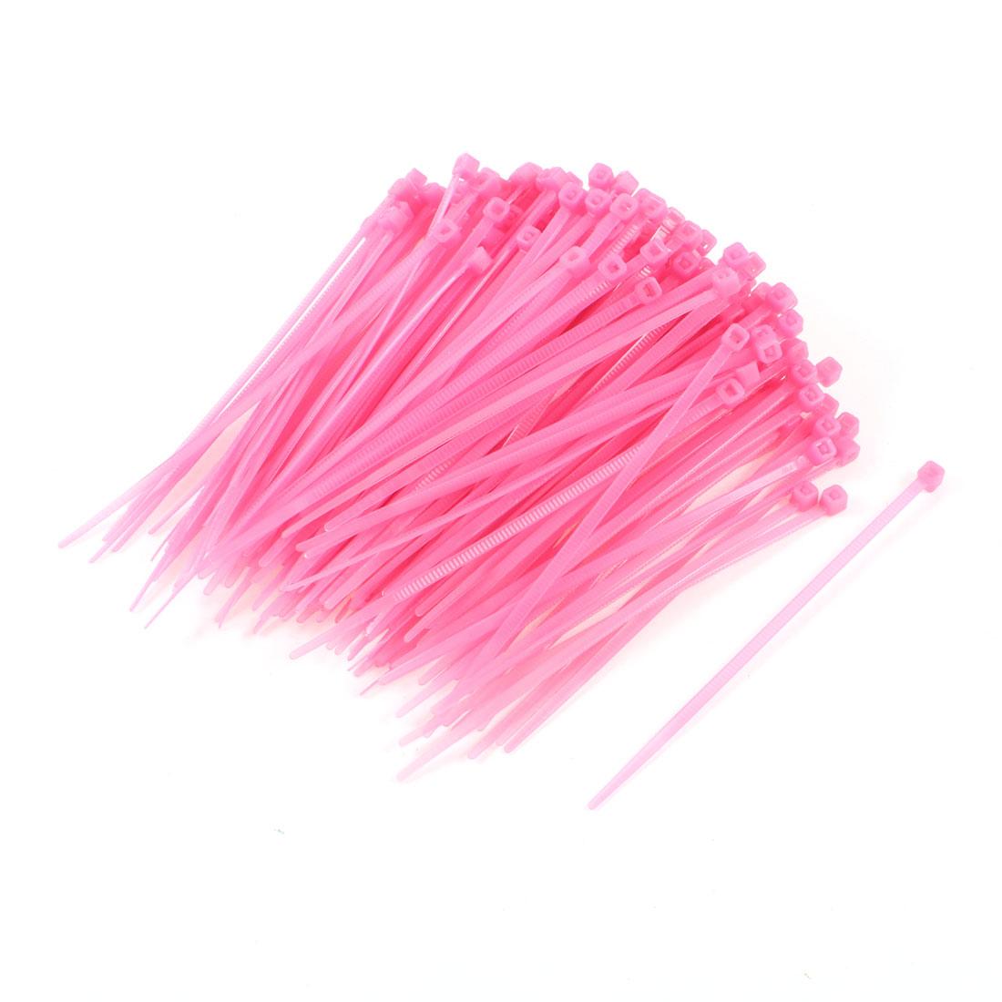 200 Pcs Adjustable Self Locking Pink Cable Zip Ties Pink 10cm Long