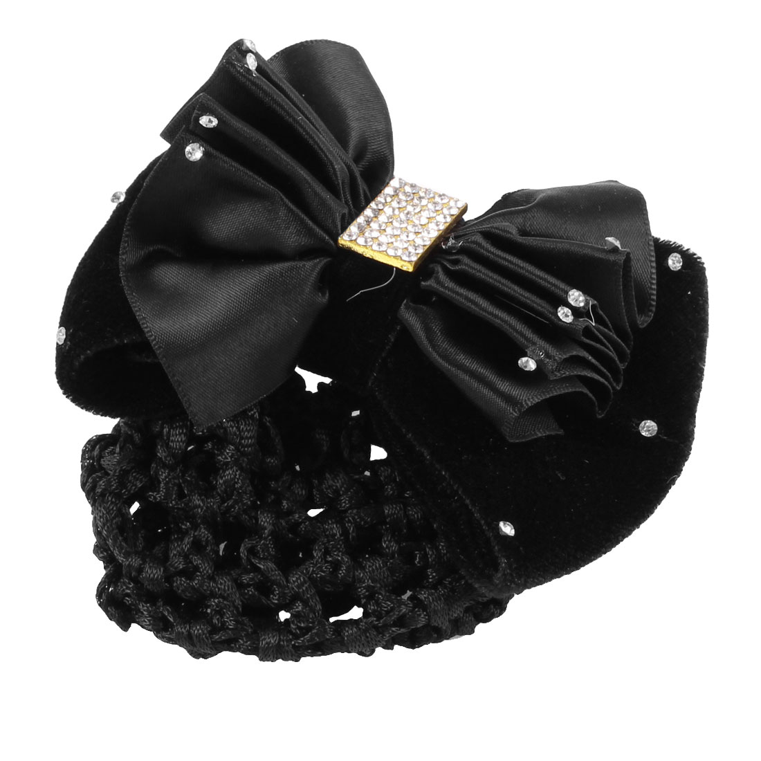 Flannel Bowknot Decorated Snood Net Barrette Hair Clip Bun Cover Black