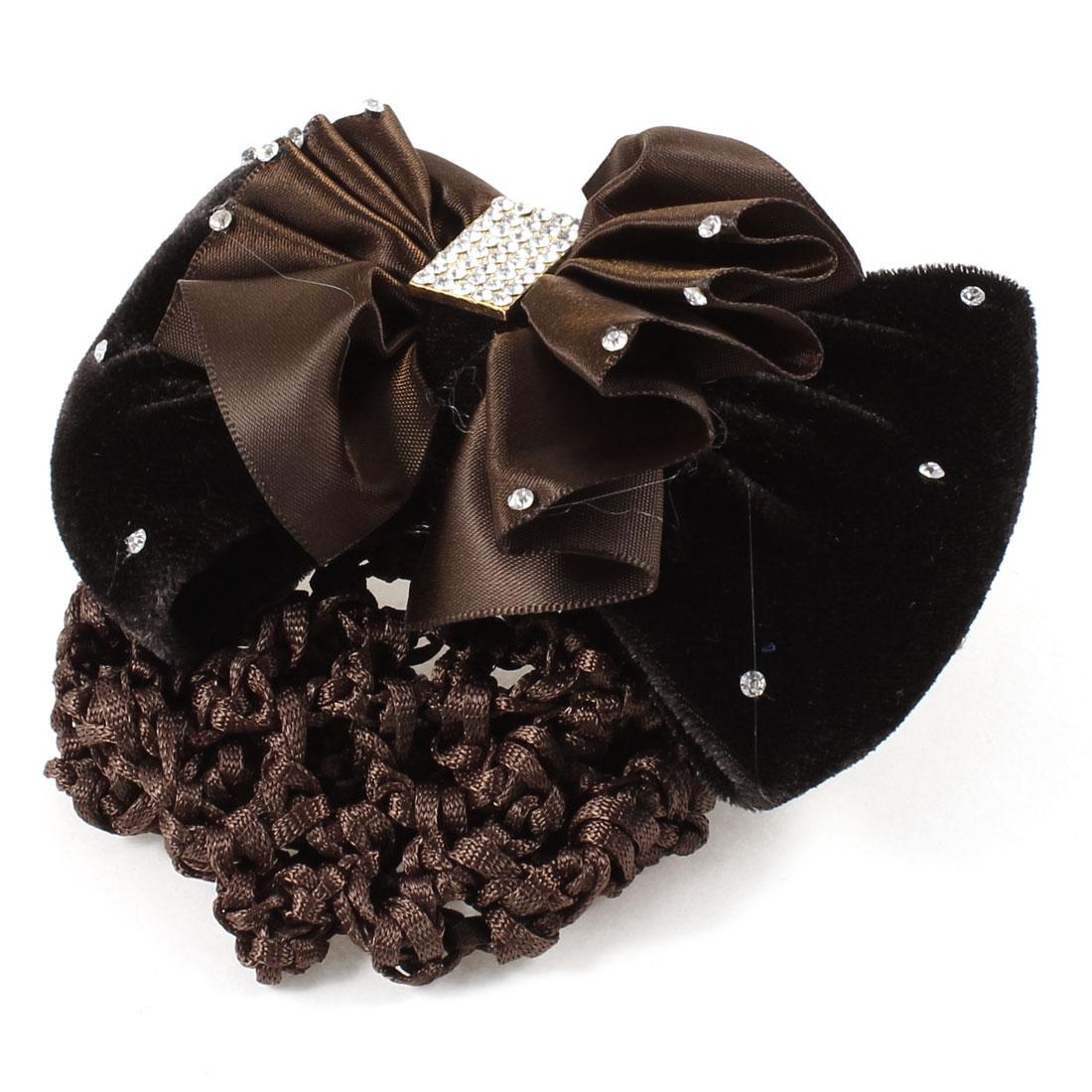 Dark Brown Ruffled Bow Tie Rhinestones Decor Snood Net French Hair Clip