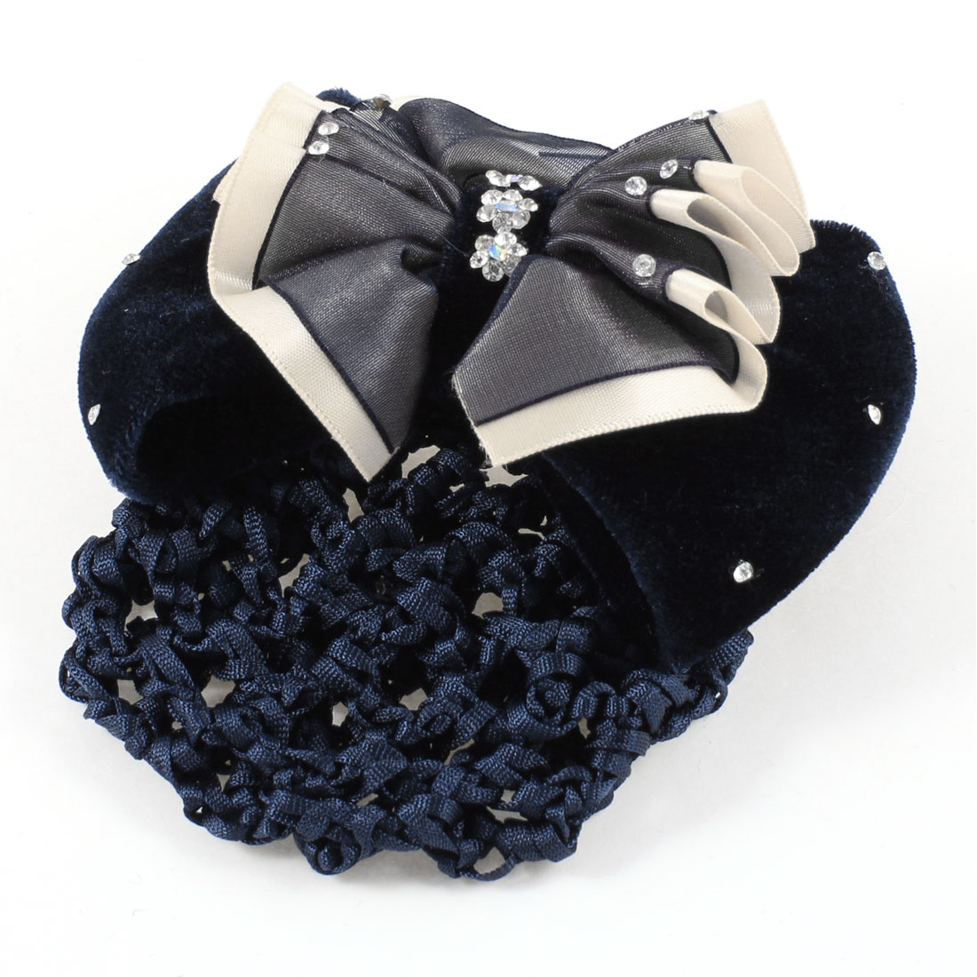 Rhinestones Detail Bowknot Snood Net Hair Clip Barrette Dark Blue