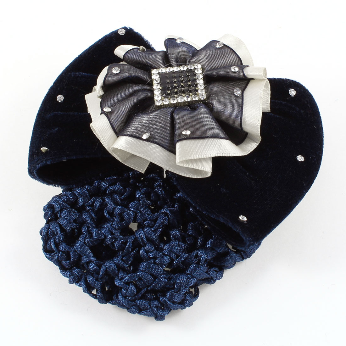 Rhinestones Detailing Ruffled Floral Snood Net Hair Clip Barrette Dark Blue
