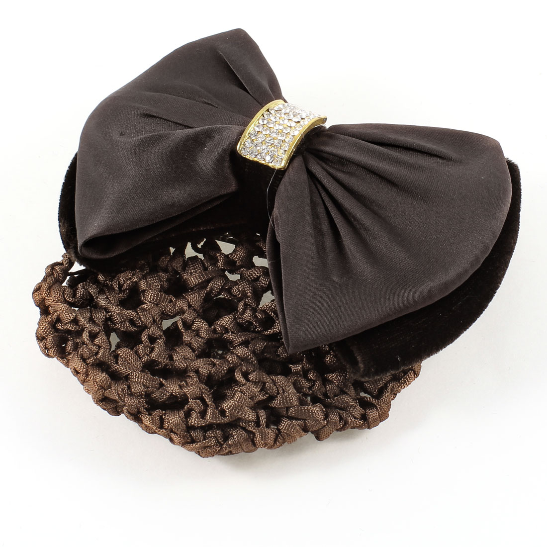 Rhinestones Bow Tie Detail Snood Net Barrette Hair Clip Bun Cover Dark Brown