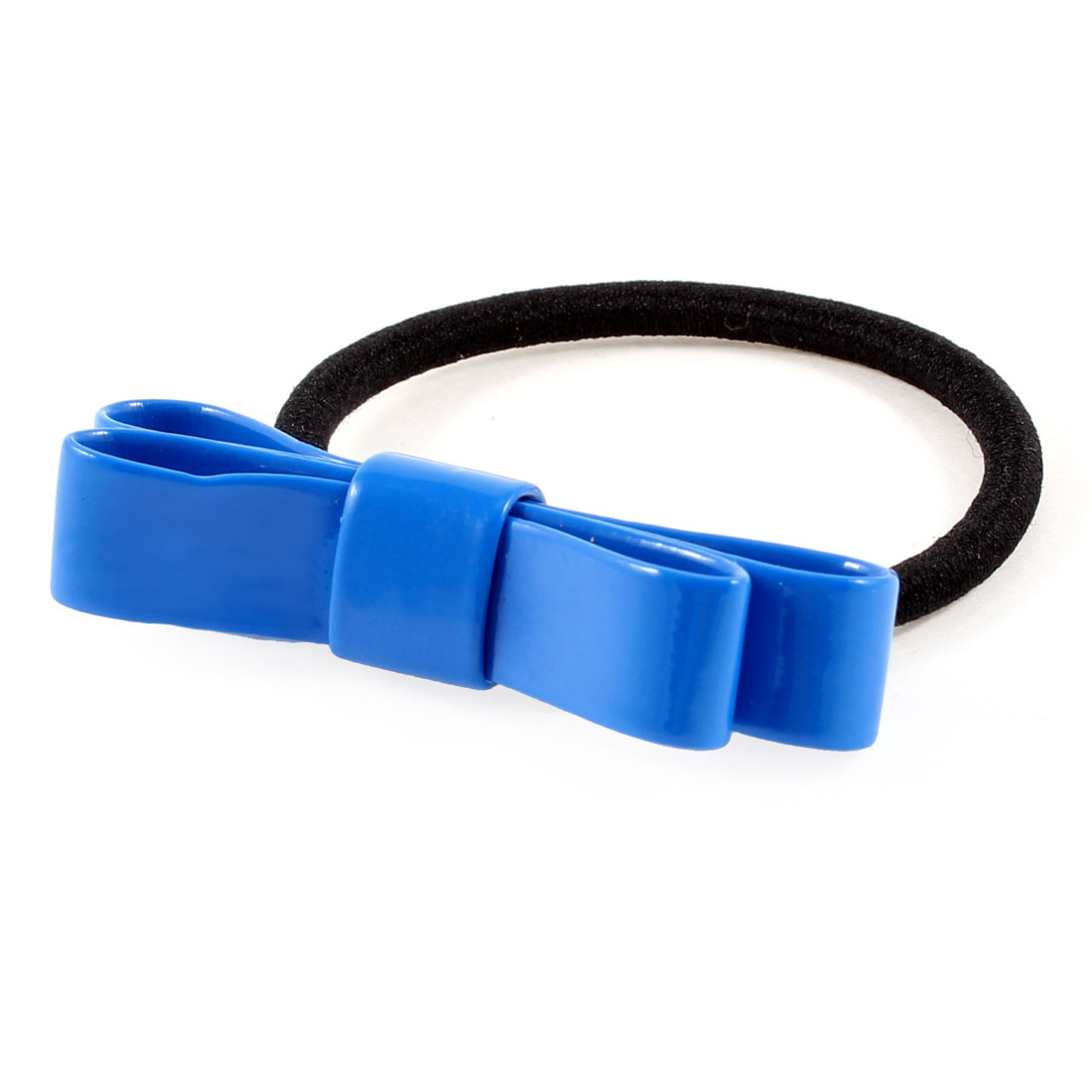 Black Blue Bow Tie Detailing Stretch Hair Rubber Band Ponytail Holder