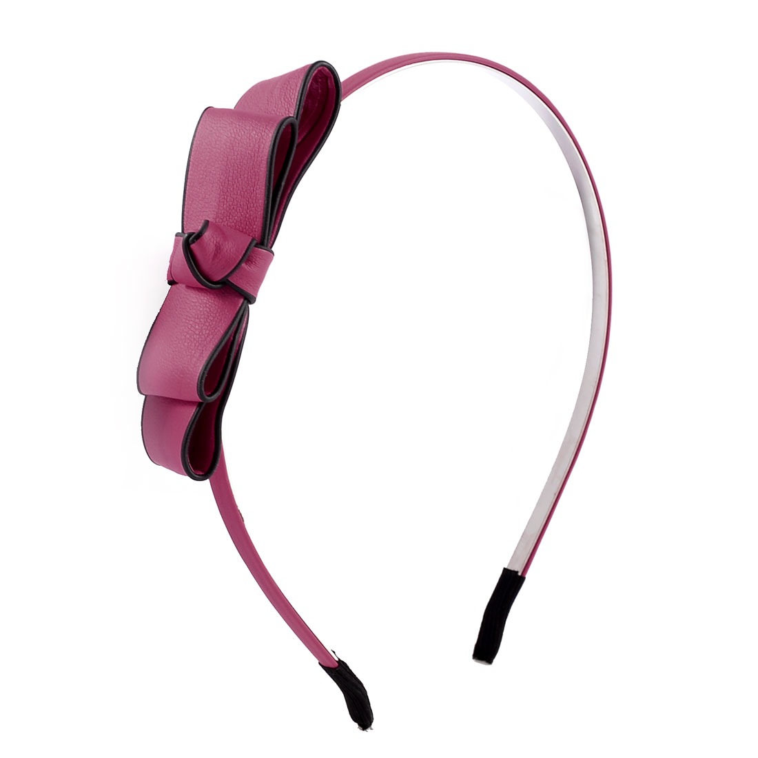 Faux Leather Bowknot Decor Metallic Frame Headband Hair Hoop Fuchsia