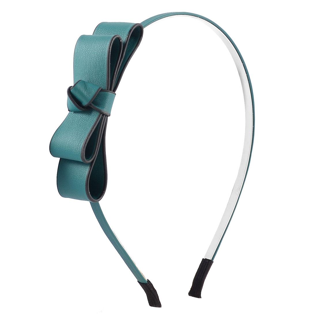 Faux Leather Bowknot Detail Metal Frame Headband Hair Hoop Dark Green