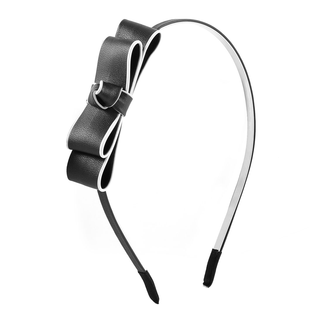 Black Faux Leather Bowknot Decorated Slim Hair Hoop Hairband