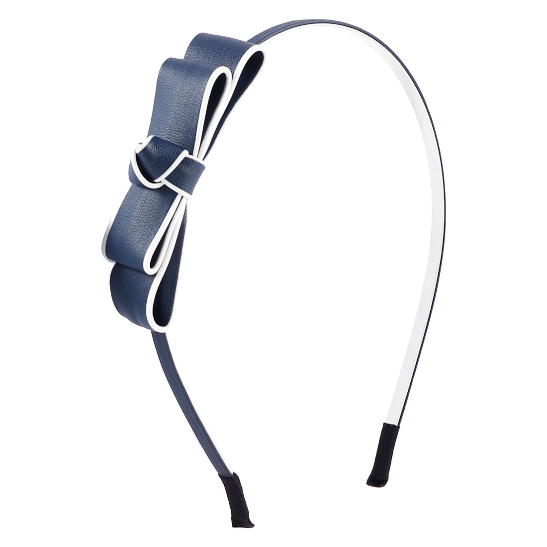 Bowknot Accent Dark Blue Faux Leather Coated Hair Hoop Hairband