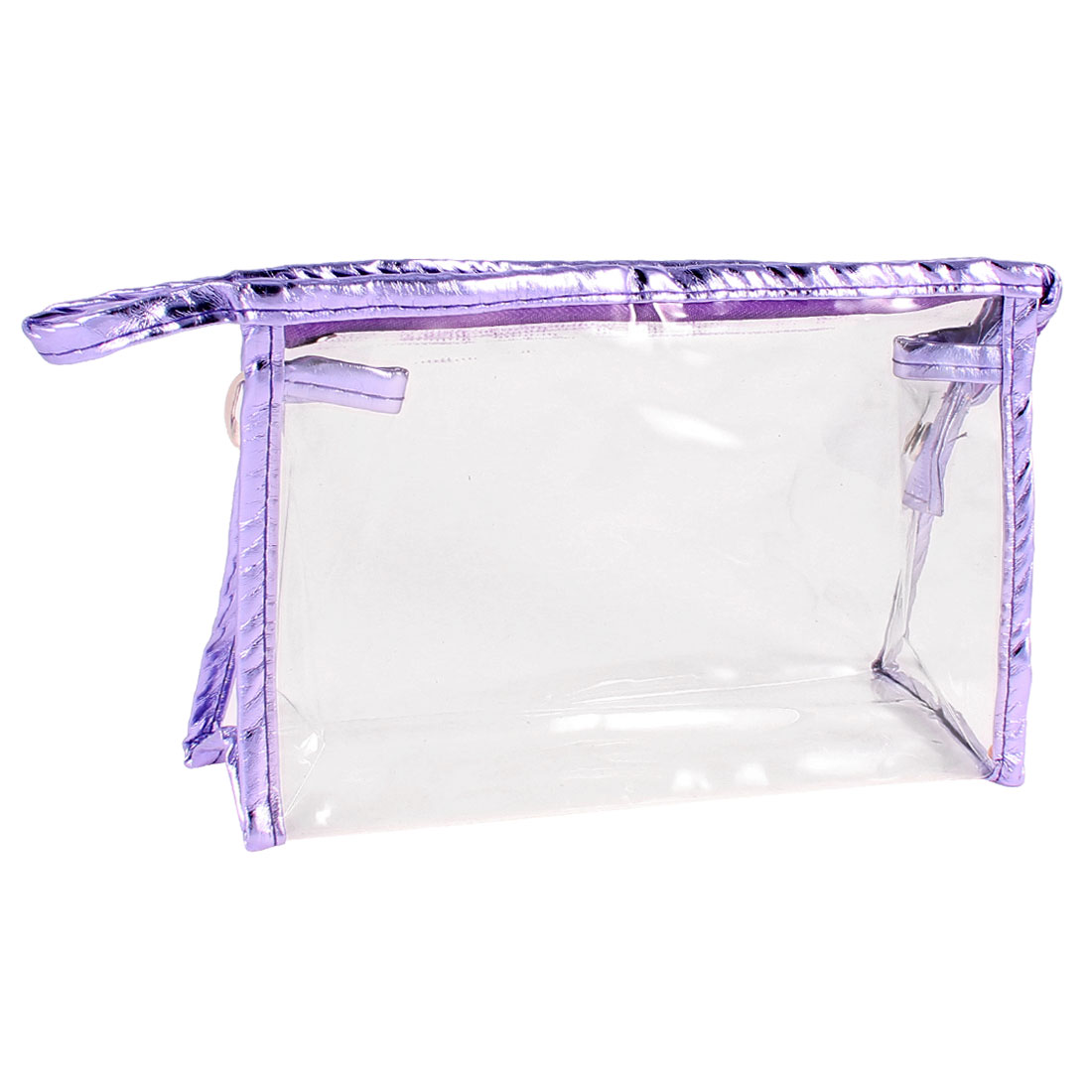 Press Button Purple Faux Leather Border Transparent Makeup Storage Case Bag