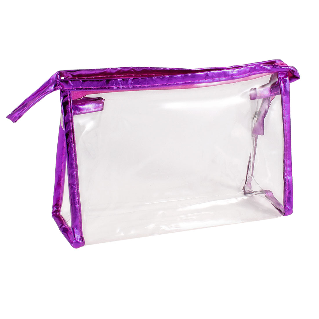 Portable Purple Faux Leather Frame Transparent Make up Holder Bag 21.5cmx6.5cmx13cm